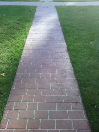 stenciled walk way (Chicago brick)